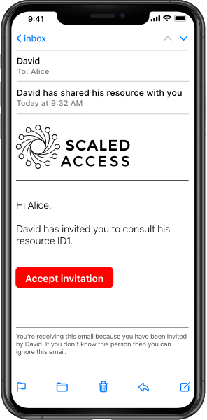 Picture of iPhone showing a Scaled Access email where David invites Alice to view Resource ID1.