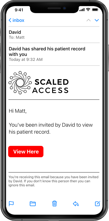 Picture of iPhone showing a Scaled Access email where Matt invites David to view his patient record.